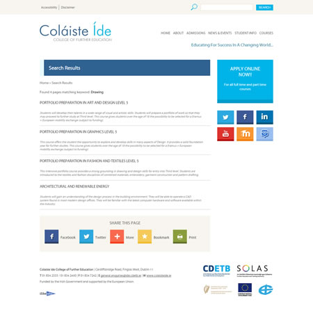 Colaiste Ide Website - Search Results
