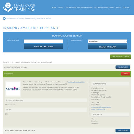 Family Carer Training - Training Search